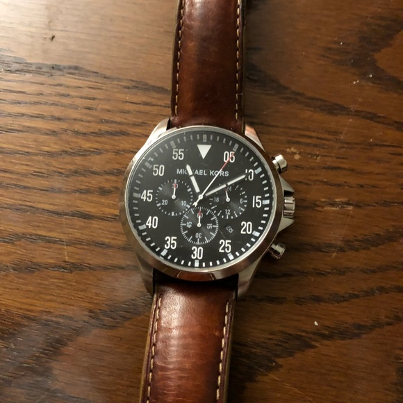 Mens Michael Kors Watch Brown Band Black Face